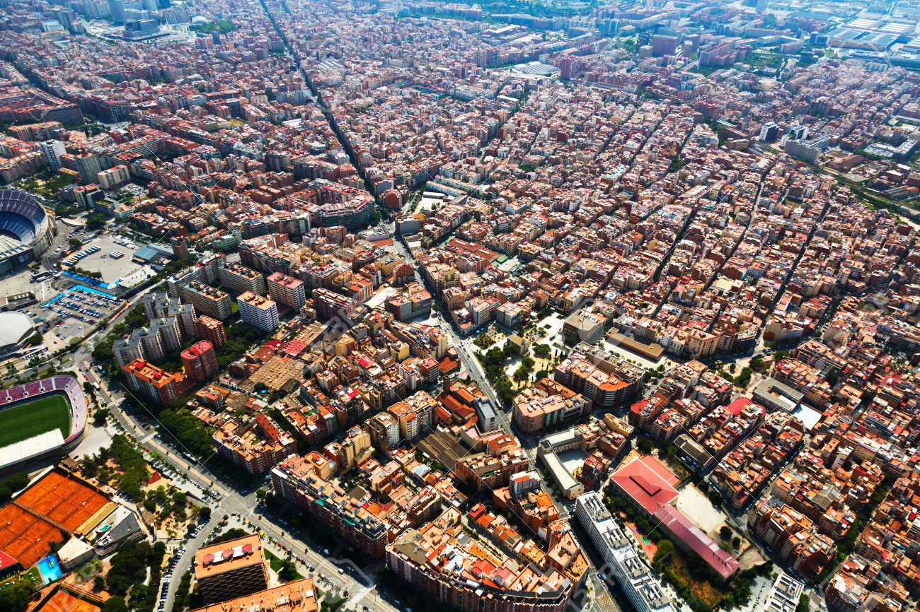 view of Sants-Montjuic residential district from helicopter. Barcelona