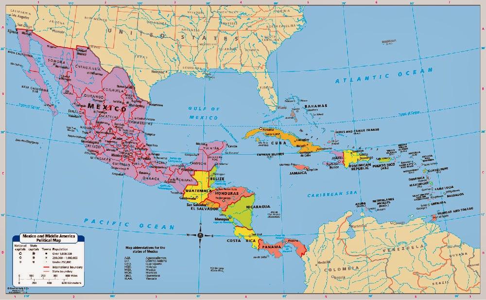 Srednja Amerika Mapa Toposiguranje Rs